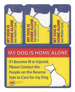 My Dog Is Home Alone card with room on the back for contact info in case of emergency